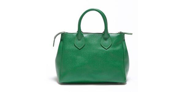 Dámska smaragdovo zelená kožená kabelka Carla Ferreri