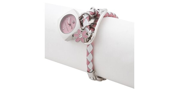 Dámske ružovo-biele hodinky s remienkom a príveskami Tommy Hilfiger 885761efce3