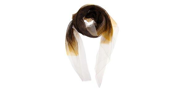 Dámska tmavo hnedá šatka Fendi s bielym lemom