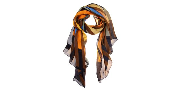Dámsky hnedo-šedo-oranžový hodvábny šál Fendi s prúžkami