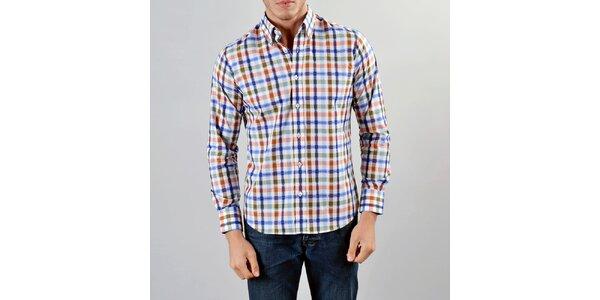 Pánska modro-červeno-okrová košeľa Marcel Massimo