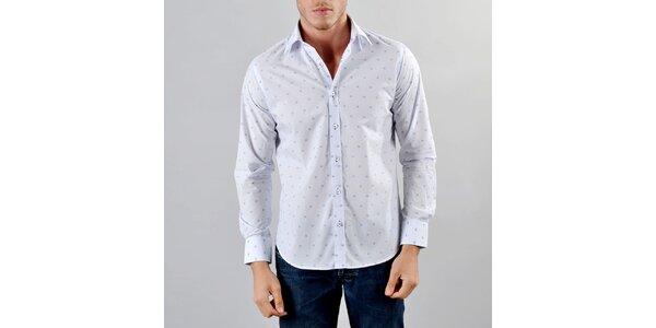 Pánska biela košeľa s modrými kockami Marcel Massimo