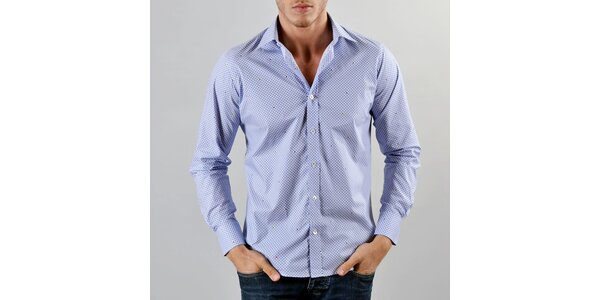 Pánska modrá kockovaná košeľa Marcel Massimo