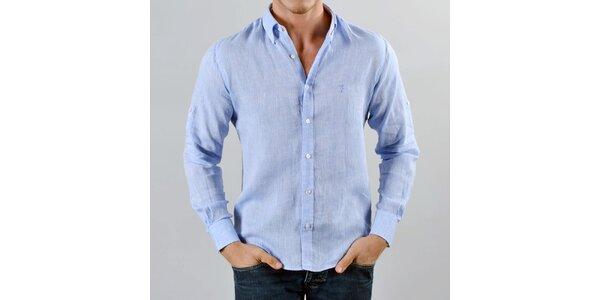 b613fb81fe42 Pánska ľanová blankytno modrá košeľa Marcel Massimo