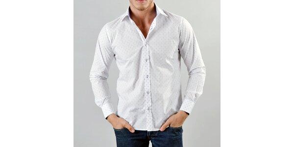 Pánska biela košeľa s bodkami Marcel Massimo