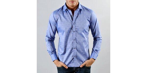 Pánska modrá košeľa so vzorčekom Marcel Massimo