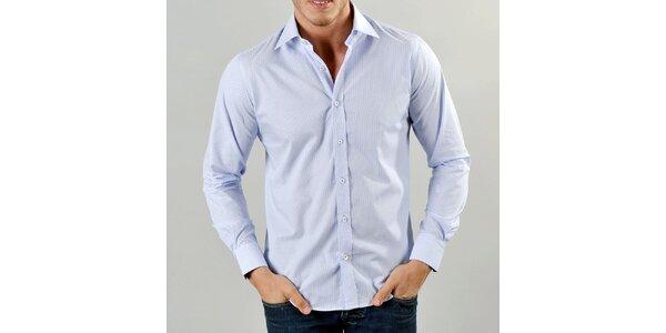 Pánska svetlo modrá košeľa s jemnými prúžkami Marcel Massimo