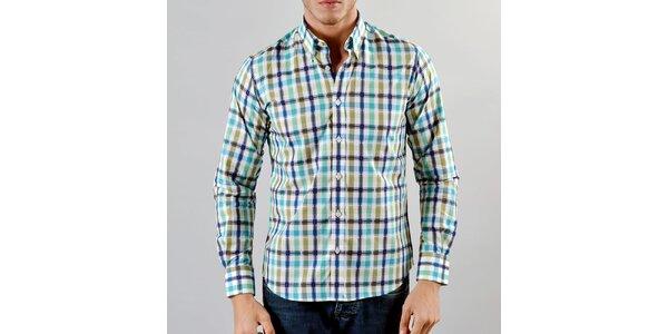 Pánska modro-okrová károvaná košeľa Marcel Massimo