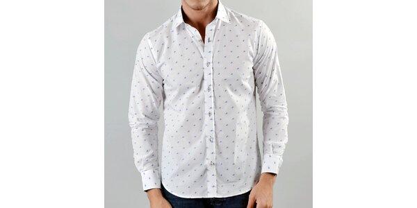 Pánska biela košeľa Marcel Massimo s modrým vzorom