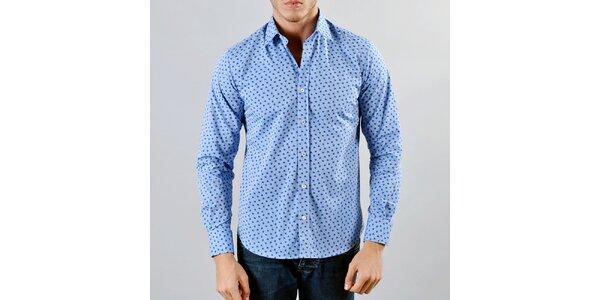 Pánska modrá košeľa s tmavo modrým vzorom Marcel Massimo