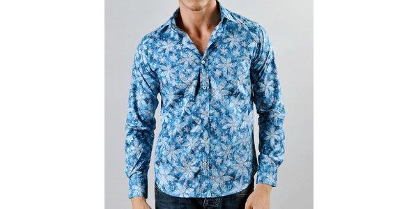 Pánska tyrkysová košeľa s bielymi listami Marcel Massimo
