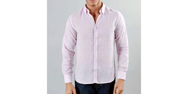 Pánska ružová ľanová košeľa Marcel Massimo