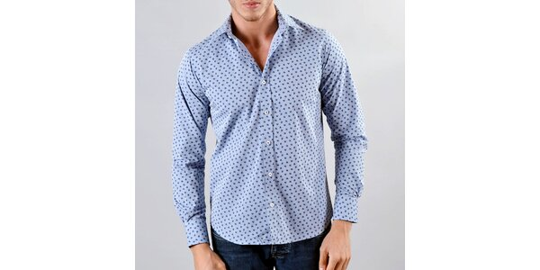 Pánska modrá košeľa s jemným tmavým vzorom Marcel Massimo