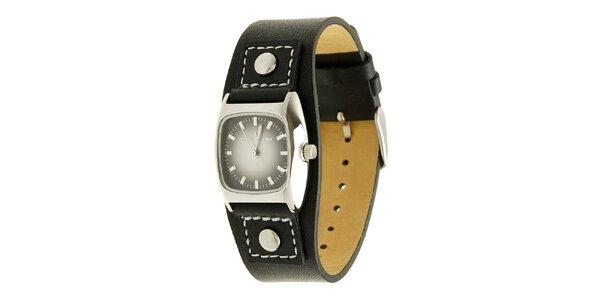 Dámske čierne analogové hodinky s koženým remienkom Tom Tailor