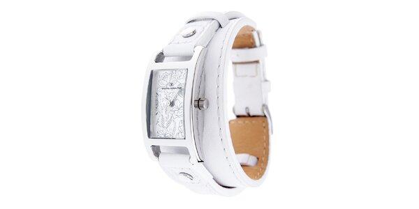 Dámske náramkové hodinky Tom Tailor s bielym koženým remienkom