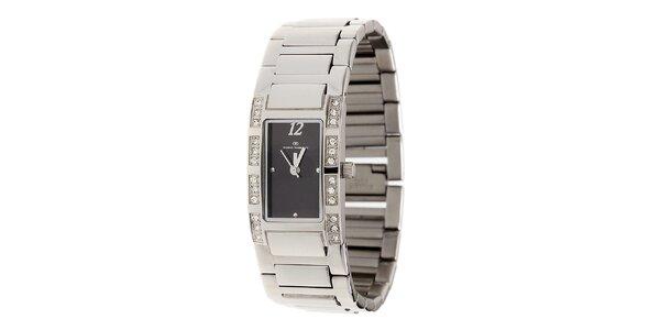 Dámske oceľové hodinky Tom Tailor s čiernym ciferníkom a kamienkami