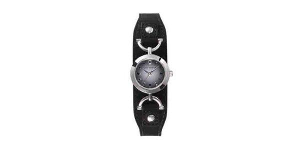 Dámske náramkové hodinky Tom Tailor s čiernym koženým remienkom