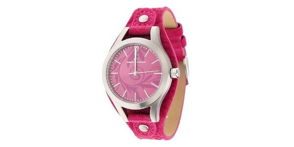 Dámske oceľové hodinky Tom Tailor s červeným koženým remienkom