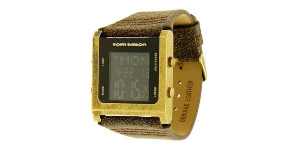 Pánske hnedo-zlaté hodinky s digitálnym ciferníkom Tom Tailor