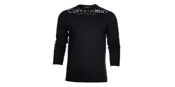 Pánske čierne tričko Calvin Klein s bielou potlačou