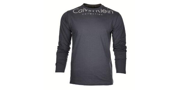 Pánske svetlo šedé tričko Calvin Klein s bielou potlačou