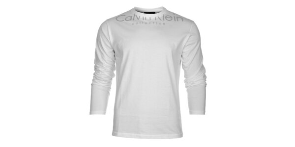 Pánske biele tričko Calvin Klein s šedou potlačou