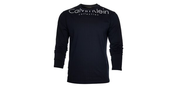 Pánske tmavo modré tričko Calvin Klein s bielou potlačou