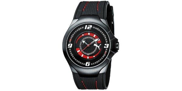 Pánske čierne analogové hodinky s červenými detailmi Puma