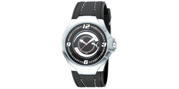 Pánske čierno-strieborné analogové hodinky Puma