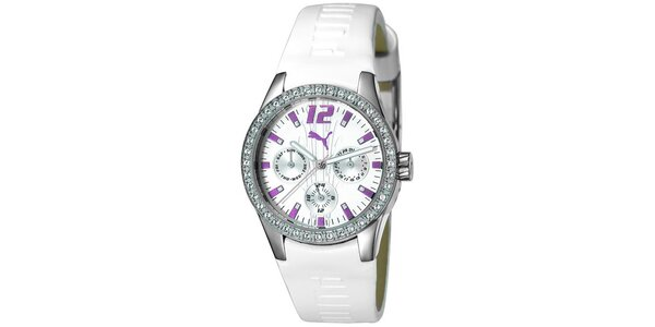 Dámske biele analogové hodinky s fialovými detailmi Puma