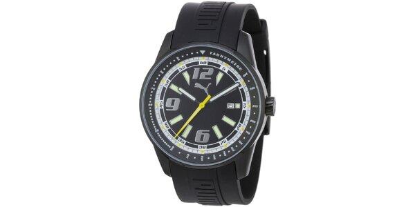 Pánske čierne oceľové hodinky Puma s gumovým náramkom