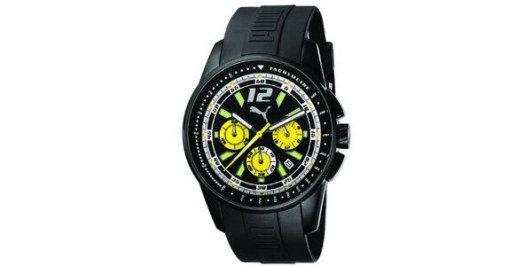 Pánske čierne oceľové hodinky so zelenými detailmi Puma