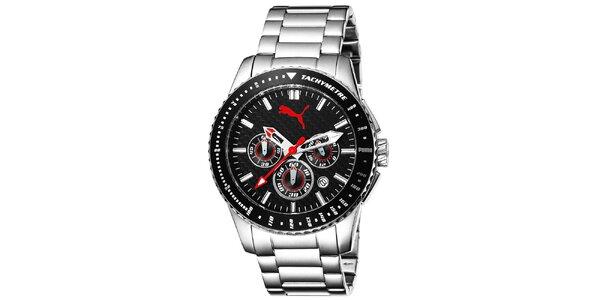 Pánske hodinky so strieborným remienkom a tachymetrom Puma