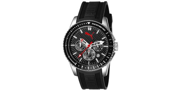 Pánske hodinky s čiernym remienkom a tachymetrom Puma