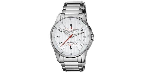 Pánske strieborné hodinky s červenými detailmi Puma