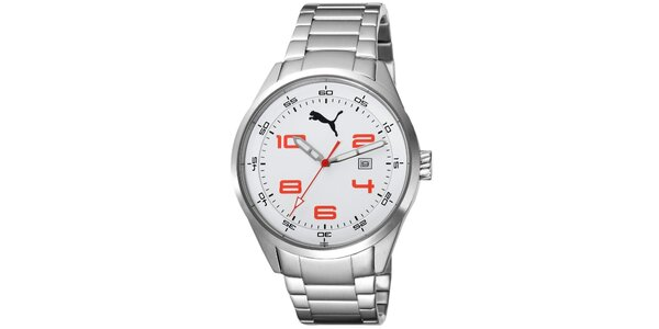 Pánske strieborné hodinky s červenými číslicami Puma