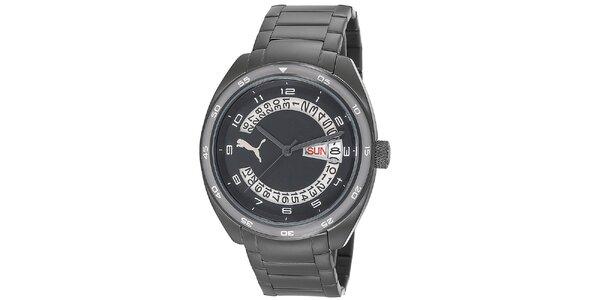 Pánske čierne oceľové hodinky s bielymi číslicami Puma