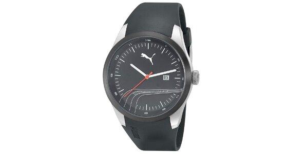 Pánske čierne hodinky s ozdobným prúžkom Puma