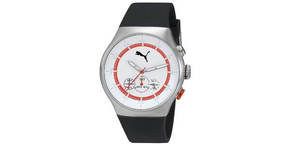 Pánske strieborné hodinky s červeným prúžkom a chronografom Puma
