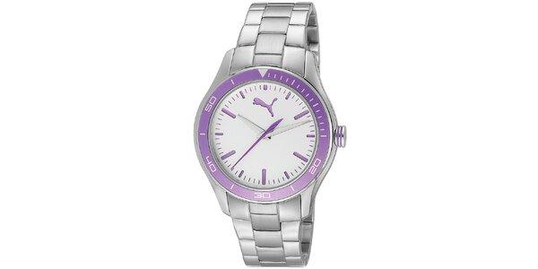 Dámske oceľové hodinky s fialovými detailmi Puma