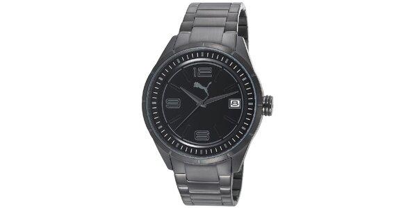 Pánske čierne oceľové hodinky Puma