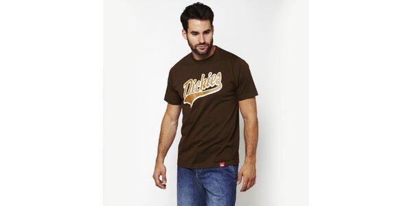Pánske hnedé tričko s potiskom Dickies