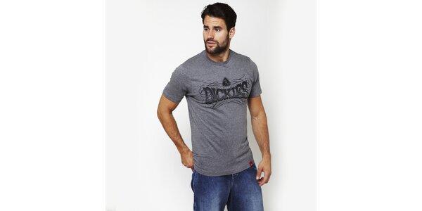 Pánske melírované šedé tričko s potiskom Dickies