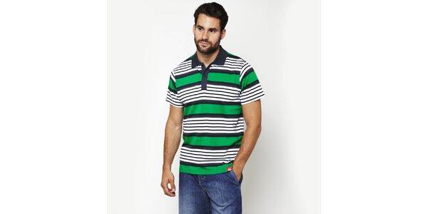 Pánske zelené pruhované polo tričko Dickies