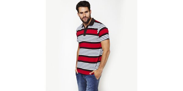 Pánske červené pruhované polo tričko Dickies