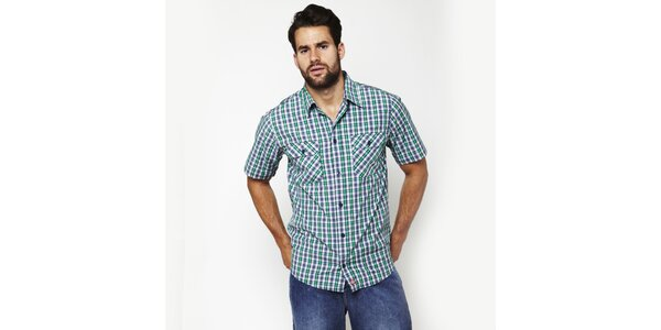 Pánska modro-zelená kostkovaná košeľa Dickies