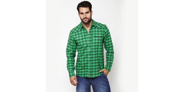 Pánska smaragdovo zelená kostkovaná košeľa Dickies