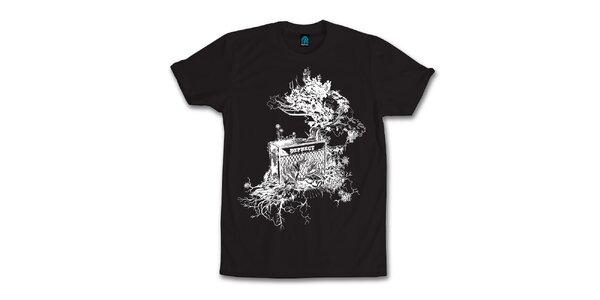 Pánske čierne tričko s originálnym potiskom Dephect