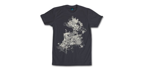Pánske antracitové tričko s originálnym potiskom Dephect