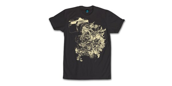 Pánske čierne tričko s kvitnúcim objektívom Dephect